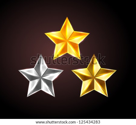 Vector shiny stars: golden, silver and bronze - raster version