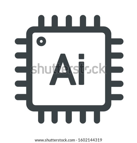 vector tech icon computer circuit Artificial intelligence chip. Illustration micro processor CPU is in a flat style.