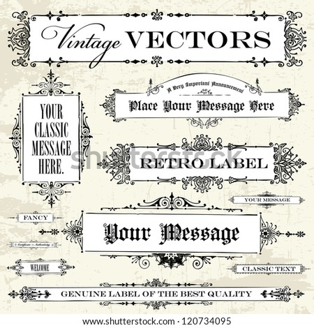 Vector Vintage Label Set. Easy to edit. Perfect for labels and vintage designs.