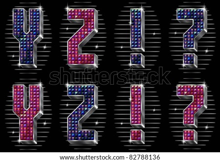 Vector volume letters Y,Z and punctuation marks with shiny rhinestones (see eps version in my portfolio)