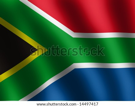 vector waved Flag of South Africa, illustration