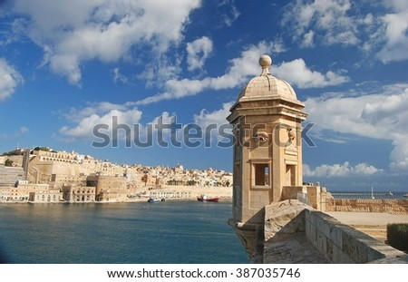 Vedette watchtower at the tip of the peninsula in Senglea. Stock fotó ©
