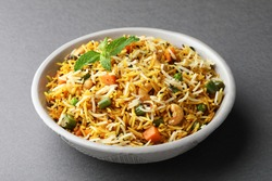 Veg biryani or veg pulav, Fried rice indian food