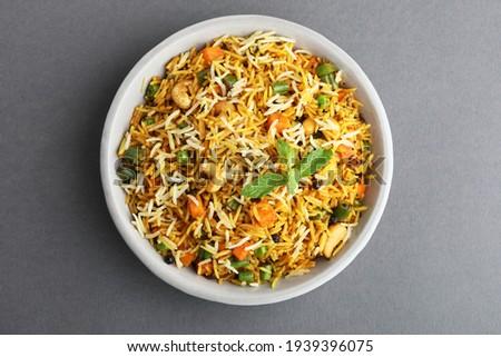 Veg biryani or veg pulav, Fried rice indian food Stock fotó ©