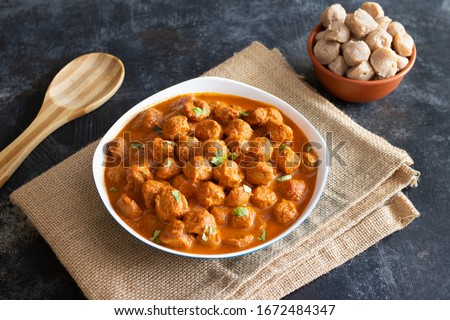 Vegan curry roast  healthy soy meat ,chunks,ball. Masala Soya Chunk Curry made using Soyabean nuggets and spices - protein rich food from India