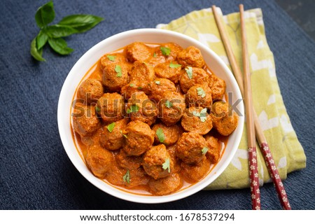 Vegan curry roast healthy soy meat, chunks, ball. Masala Soya Chunk Curry made using Soyabean nuggets and spices - protein rich food from India