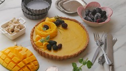 vegan mango tart with mulberry, shortcrust pastry perfect for holiday