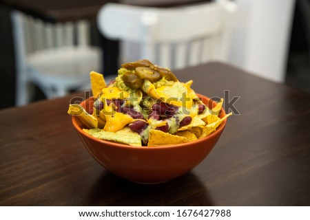vegan nachos without any meat in restaurant Stock fotó ©