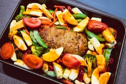vegan roast with mixed garden vegetables and plant-based meatloaf before going in the oven, healthy plant-based food recipes