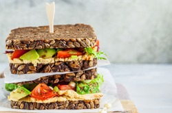 Vegan sandwiches with hummus, tomato, avocados and seedlings on whole grain bread.