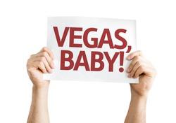 Vegas, Baby! card isolated on white background