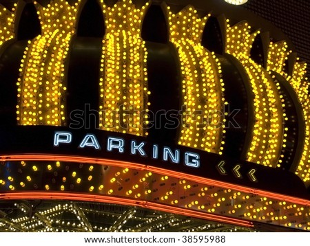 vegas marquee with parking sign
