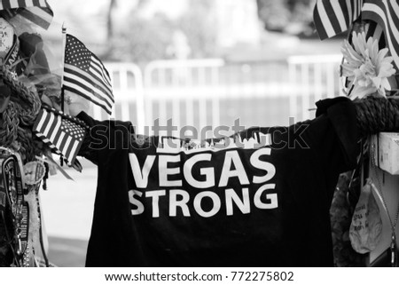 Vegas Strong shirt with American flags. B&W.