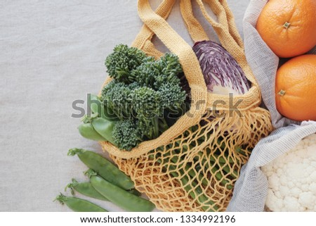 vegetable and fruit in reusable bag, Green eco living sustainable and zero waste concept #1334992196