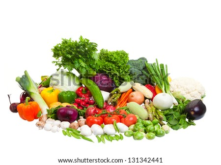 Vegetable arrangement on a white background.