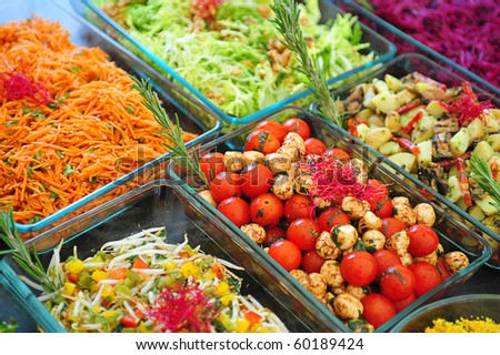 Vegetable buffet in a garden party