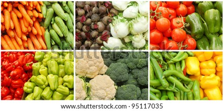 vegetable collage made from six images