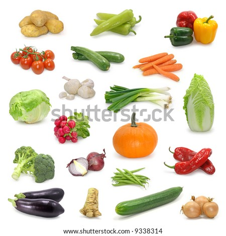 vegetable  collection isolated on a white