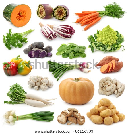 Vegetable collection isolated on a white background.