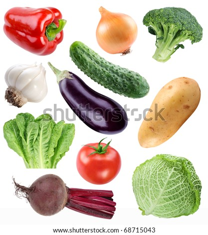 Vegetable collection isolated on a white background. File contains a path to cut.