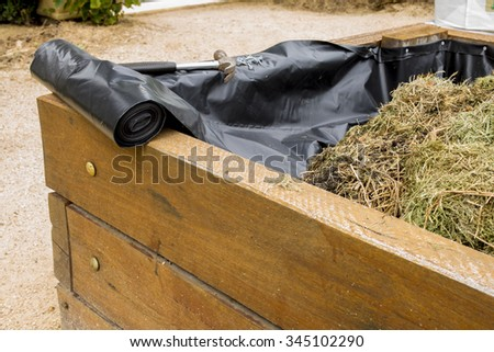 Vegetable Garden Bed With Plastic Liner Stock Photo