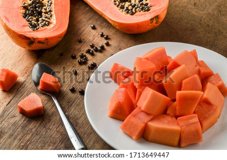 vegetable, garden, plant, pulp, leaf, shadow, whole, vitamin, pawpaw, cutout, papayas, farm, thailand, eating, tree, papaya slice, papaya isolated, market, color, smoothie, texture, eat, nutrition, ap Stockfoto ©