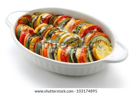 vegetable gratin on a white background