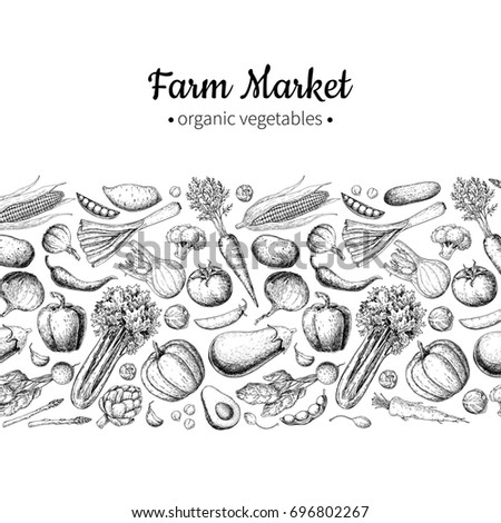 Vegetable hand drawn vintage illustration. Farm Market poster. Vegetarian set of organic products. Detailed food drawing. Great for menu, banner, label, logo, flyer