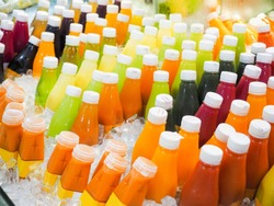 Vegetable juices are sold in many supermarkets refrigerator