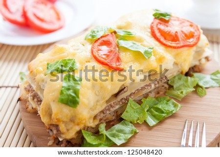 vegetable lasagna with buckwheat and cheese, closeup