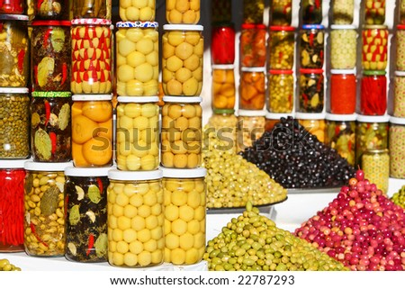 Vegetable market in Morocco: pickled olives and vegetables