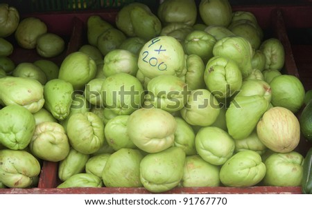 Vegetable pear fruits on market - Sechium edule inSan Jose, Costa Rica