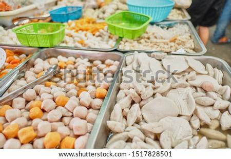 Vegetable Protein Main ingredients in a vegetarian food in Vegetarian festival thai. Yaowarat or  bangkok china town, Thailand