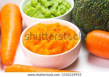 vegetable puree, carrots  pureed ,Broccoli pureed #1142124953