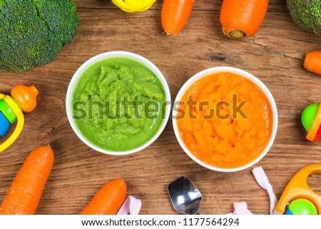 vegetable puree, carrots  pureed ,Broccoli pureed #1177564294
