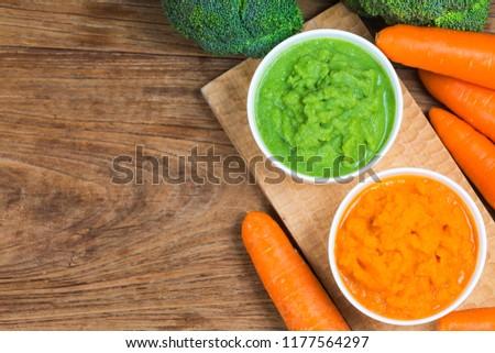 vegetable puree, carrots  pureed ,Broccoli pureed #1177564297