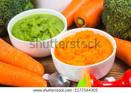 vegetable puree, carrots  pureed ,Broccoli pureed #1177564303