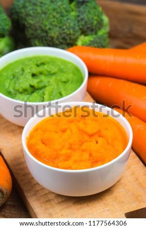 vegetable puree, carrots  pureed ,Broccoli pureed #1177564306