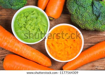 vegetable puree, carrots  pureed ,Broccoli pureed #1177564309