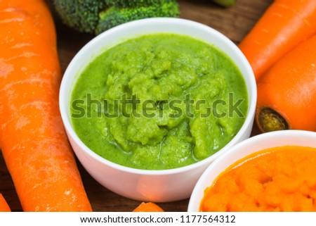 vegetable puree, carrots  pureed ,Broccoli pureed #1177564312