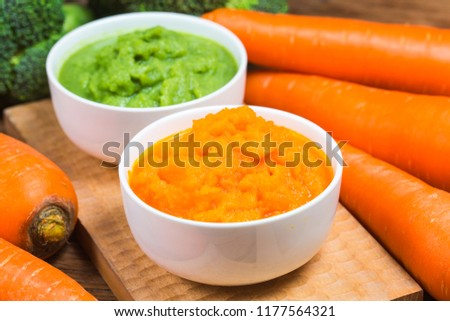 vegetable puree, carrots  pureed ,Broccoli pureed #1177564321