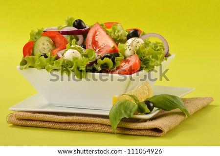 Vegetable salad bowl on green background
