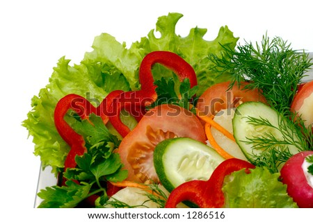Vegetable salad colorful appetizer dish isolated on white