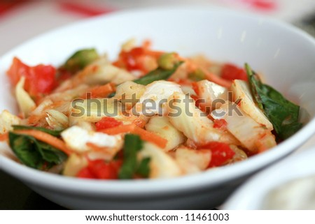 vegetable salad in small plate,close-up