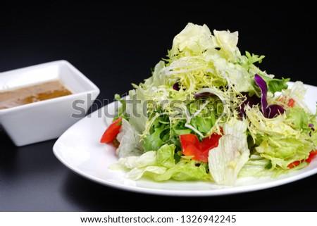 Vegetable salad with salad dressing