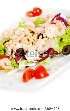vegetable salad with shrimp on white background