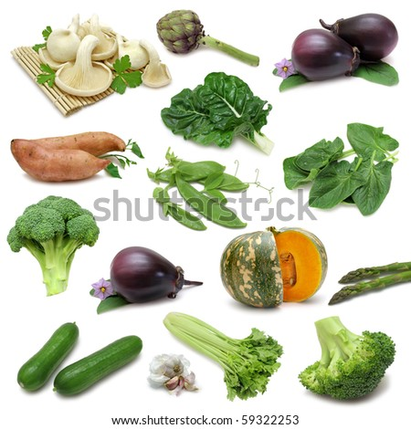 Vegetable sampler, variety of vegetables isolated on pure white background