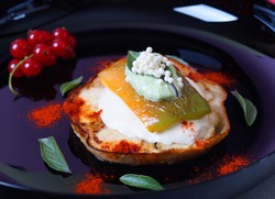 Vegetable sandwich with cheese and creamy caviar