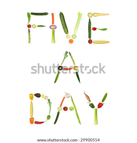 Vegetable selection spelling the words five a day, over white background.