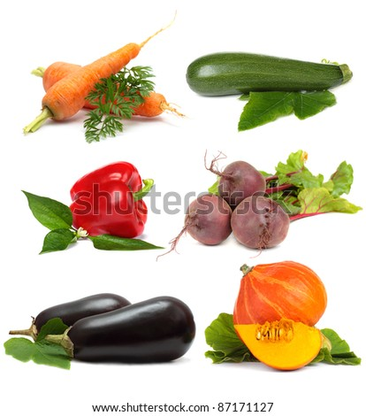 Vegetable set isolated on white background - collage